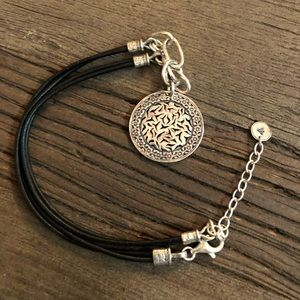 Silpada Silver & Black Leather Charm Necklace